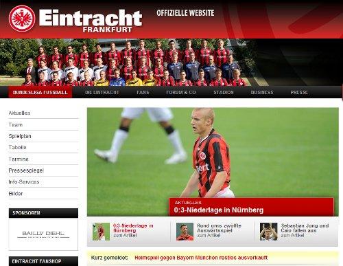 Bild: Screenshot der Eintracht-Webseite aktuell - Eintracht Frankfurt in der Tabelle wieder da, wo sie hingehört