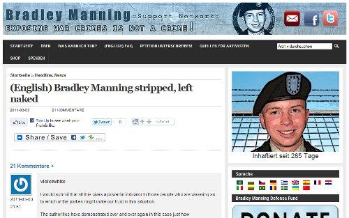 Unterstützerseite von Bradley Manning