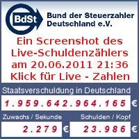 Der Live-Schuldenzähler des Bundes der Steuerzahler Deutschland e.V.