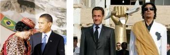 Obama und Gaddafi - Sarkozy und Gaddafi - Bild von linksunten.indymedia.org