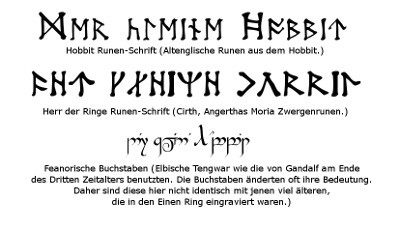 In verschiedenen Runen geschrieben: Der kleine Hobbit