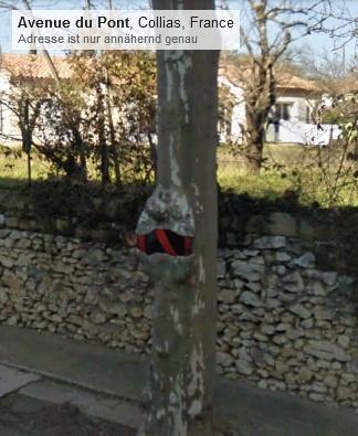 Schild am / im Baum in Collias Frankreich (Screenshot von Google Streetview (2011)