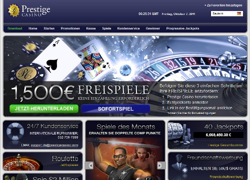 Prestige Casino - Screenshot der Website mit dem 1.500 Euro Lockvogel