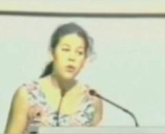 Screenshot von Severn Suzuki bei ihrer Rede vor dem Umweltgipfel 1992