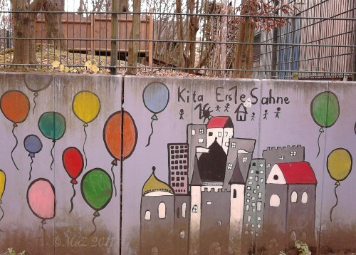 "Graffito an der KiTa ""Erste Sahne"" in Praunheim (Graffiti in Frankfurt am Main)"