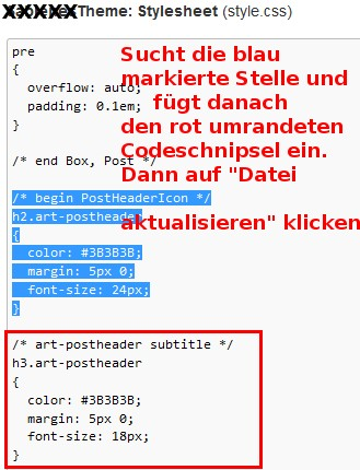 Artisteer Design mit WP Subtitle Stylesheet ändern