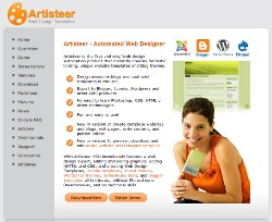 Screenshot der Homepage von Artisteer