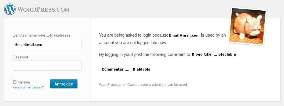 WordPress Kommentar mit Hindernisssen - Hier verhindert die mit Gravatar gekoppelte Adresse den anmeldefreien Kommentar - Klicken vergrößert das Bild