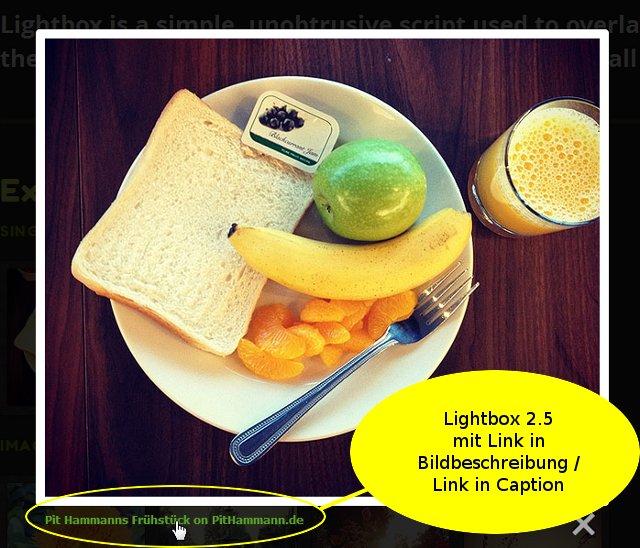 Lightbox 2.5 mit Link in Bildbeschreibung / Caption