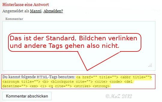 WordPress Kommentare mit mehr html-tags - So sieht der Standard aus