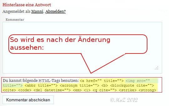WordPress Kommentare mit mehr html-tags - So sieht es nach der Änderung aus
