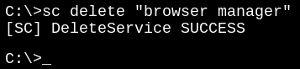 Browser Manager entfernen - DOS-Eingabe