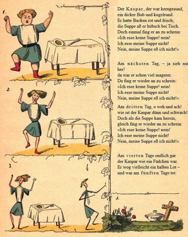 Der Suppenkasper hat seinen Ursprung wohl in der Geschichte von Dr. Heinrich Hoffmann: Der Suppenkaspar