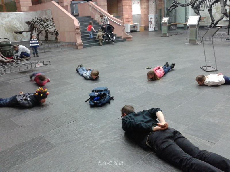 Kindergeburtstag im Senckenberg Museum Bewegungseinlagen wie Aufstehen ohne oder mit zu kurzen Armen