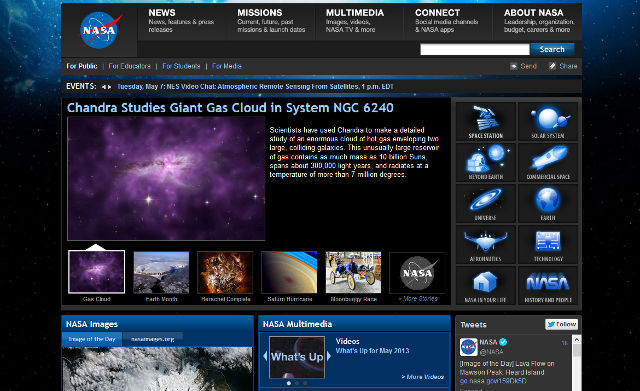 Bild: Screenshot von der Homepage der NASA.org