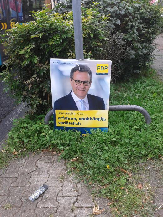 Bild: Hessen-Wahl 2013 - Die FDP wirbt mit Plakaten auf unterstem Niveau.