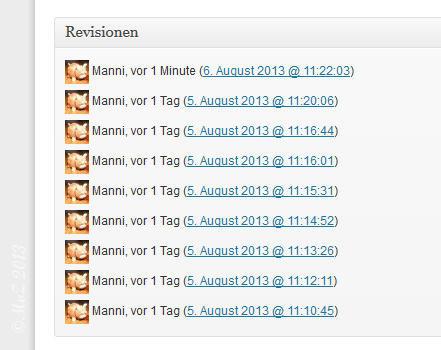 Bild: WordPress Revisionen werden in der Administration unterhalb des zu bearbeitenden Beitrags gezeigt.