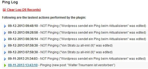 Bild: Das Protokoll von WordPress Ping Optimizer zeigt Es wird kein Ping beim Aktualisieren gesendet