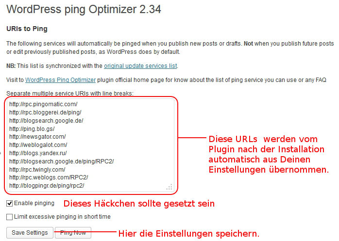 Bild: Einstellungen für WordPress Ping Optimizer Damit gehört das Ping beim Aktualisieren deiner Artikel der Vergangenheit an.