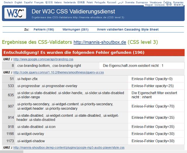 Bild: Screenshot vom CSS-Validator zum CSS von WordPress-Plugins
