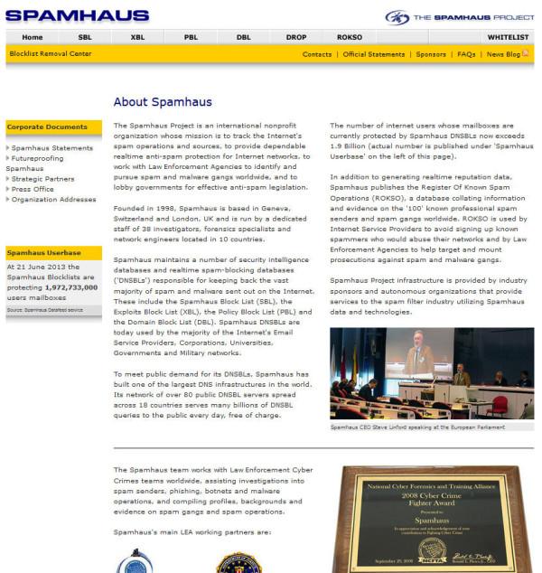 Bild: Screenshot der About-Seite von Spamhaus.org