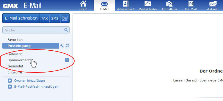 GMX Emails aus dem Spam nehmen: Klicke links auf den Ordner Spamverdacht.