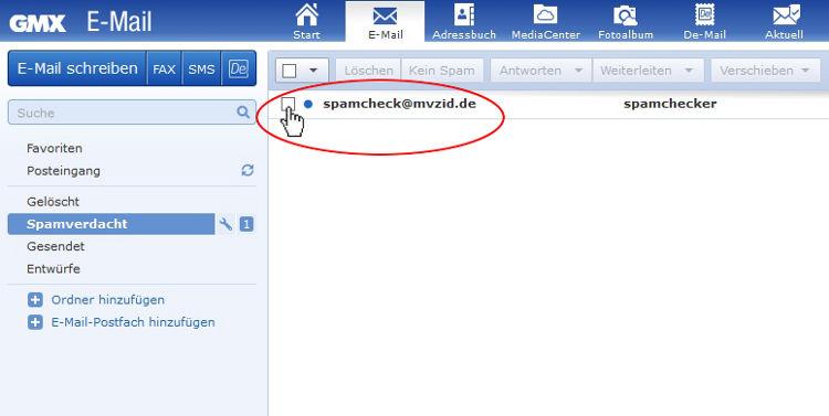 GMX Emails aus dem Spam nehmen: Markiere die E-Mail/s, die kein Spam ist/sind: