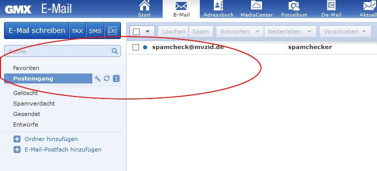 GMX Emails aus dem Spam nehmen: Prüfe im Posteingang, ob auch alle E-Mails, die Du markiert hast, dort gelandet sind.