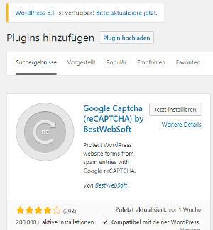 Bild 01: Google Recaptcha installieren