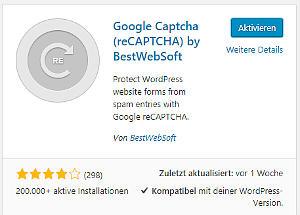 Bild 03: Google ReCapcha aktivieren