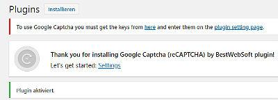 Bild 04: Google ReCaptcha Settings Settings wählen