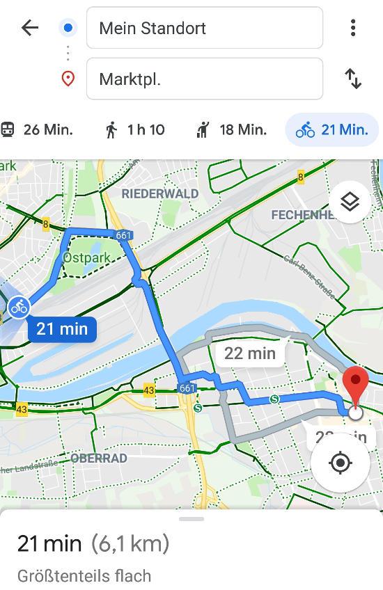 Bild: Statt mit dem RMV von Frankfurt nach Offenbach mit dem Fahrrad fahren.